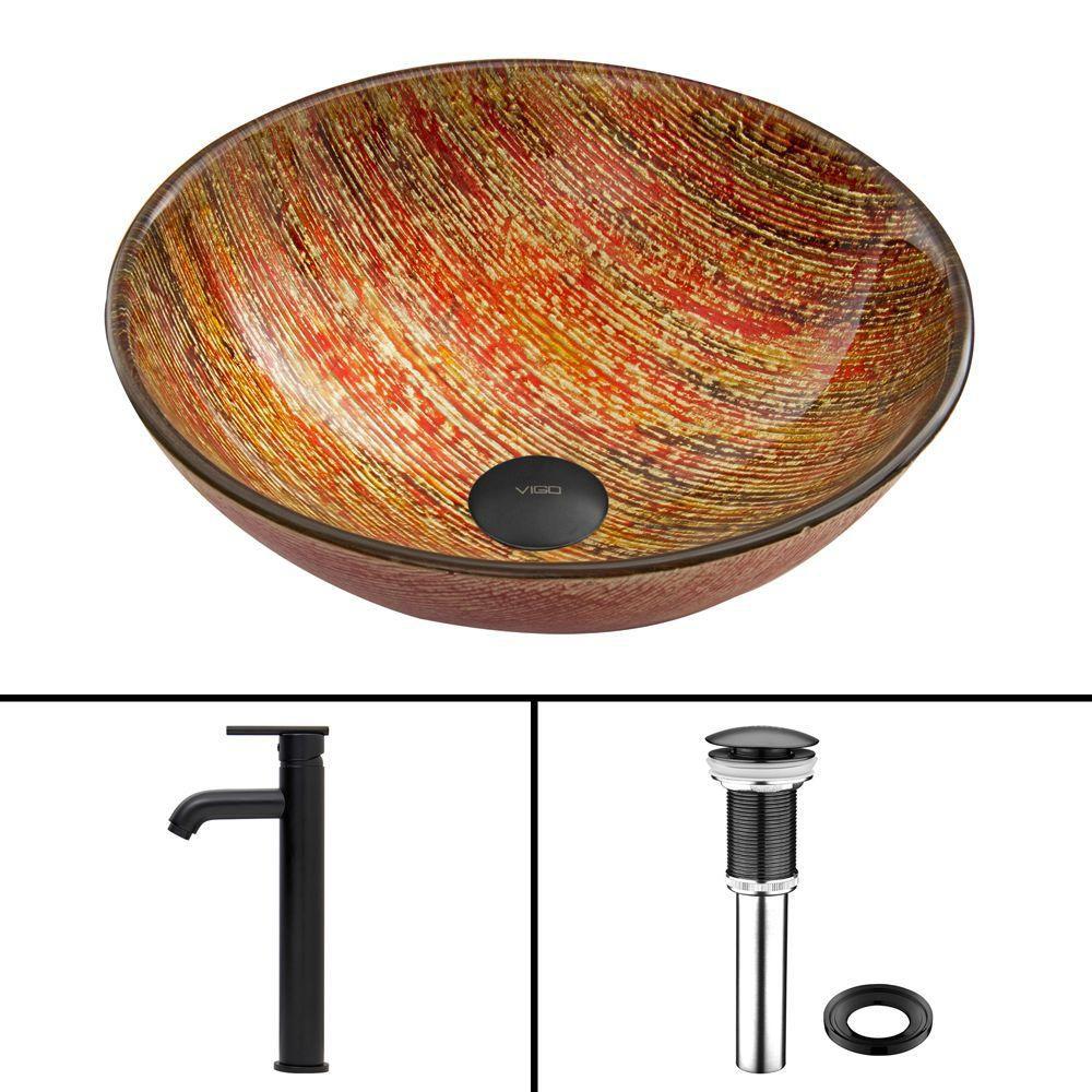 Ensemble Blazing Fire Lavabo en verre et robinet Seville noir mat