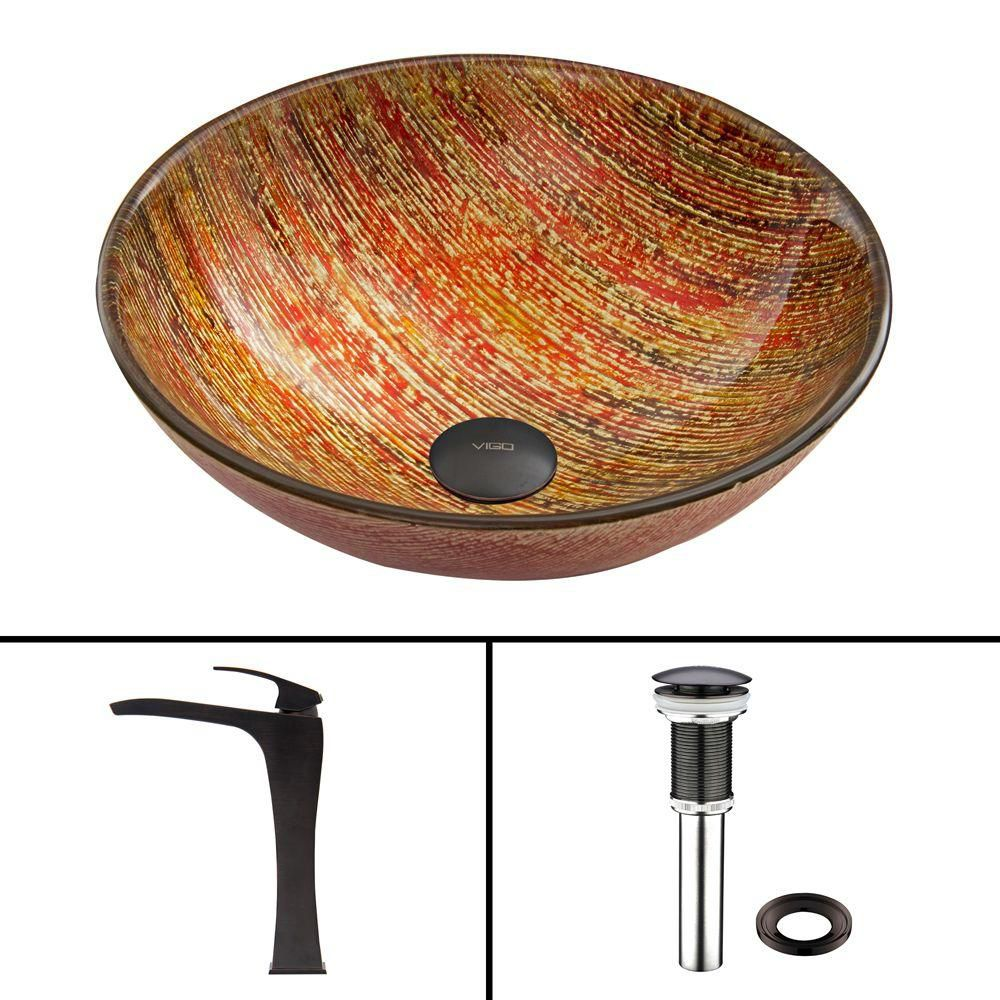 Glass Vessel Sink in Blazing Fire with Blackstonian Faucet in Antique Rubbed Bronze