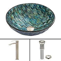 VIGO Glass Vessel Sink in Oceania with Duris Faucet in Brushed Nickel