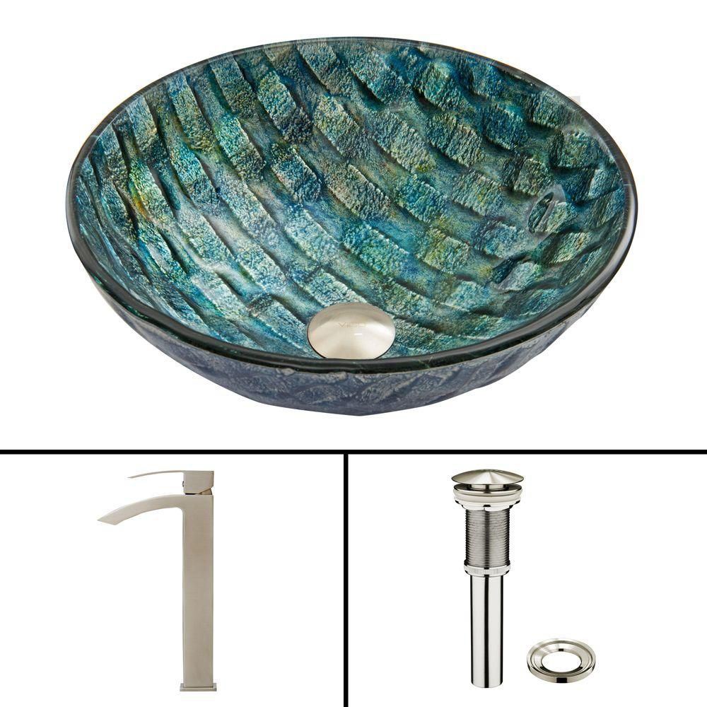 Glass Vessel Sink in Oceania with Duris Faucet in Brushed Nickel