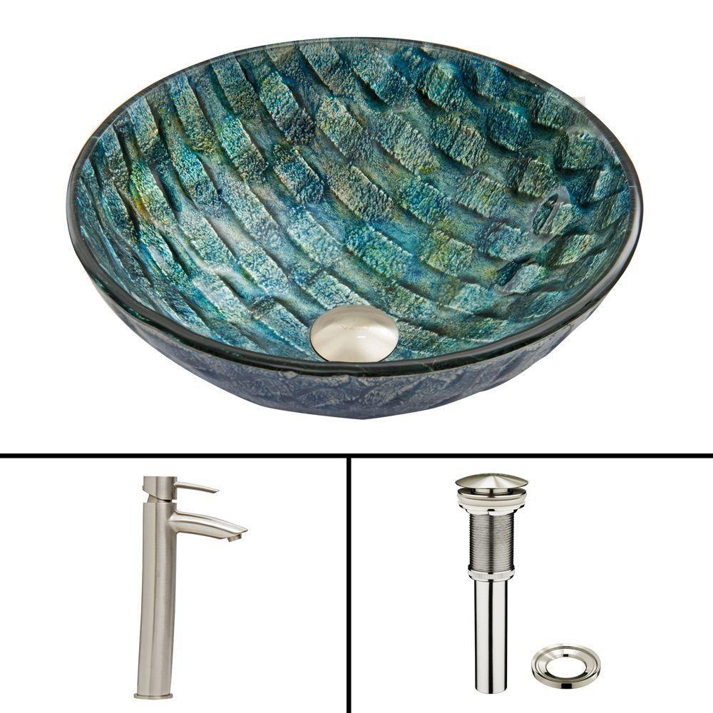 Vigo Glass Vessel Sink in Oceania with Shadow Faucet in Brushed Nickel
