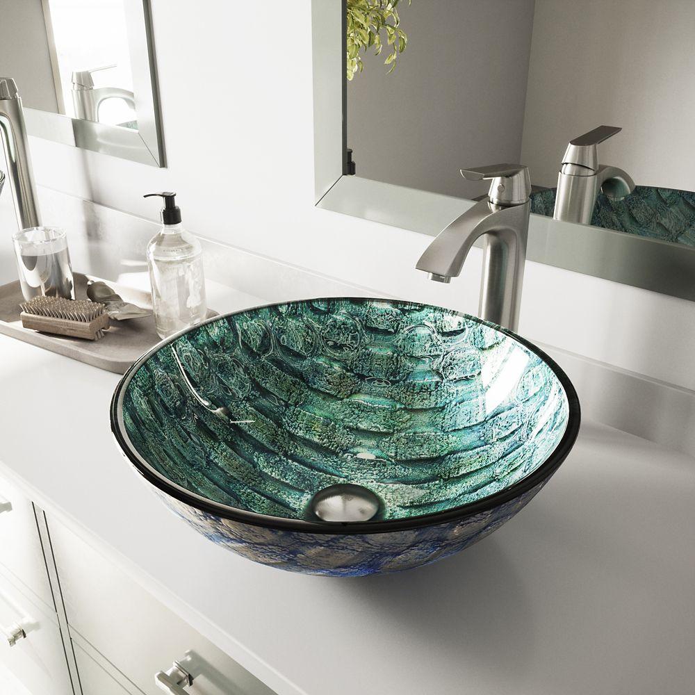 Glass Vessel Sink in Oceania with Linus Faucet in Brushed Nickel