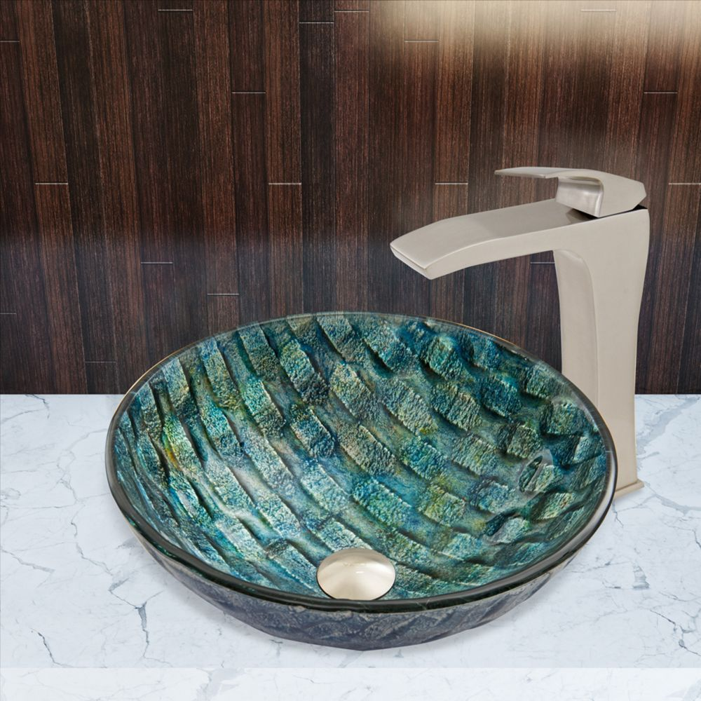 Glass Vessel Sink in Oceania with Blackstonian Faucet in Brushed Nickel