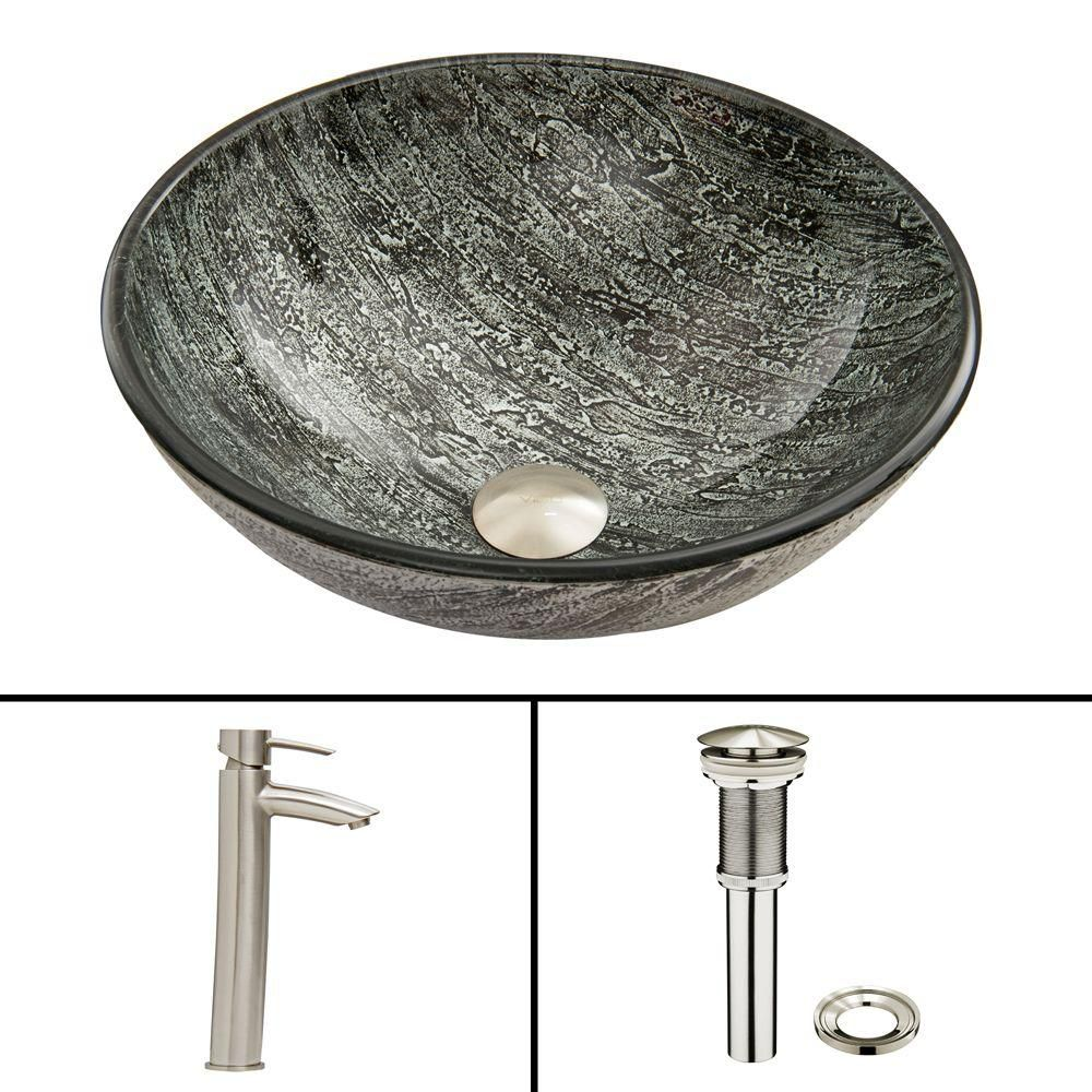 Glass Vessel Sink in Titanium with Shadow Faucet in Brushed Nickel