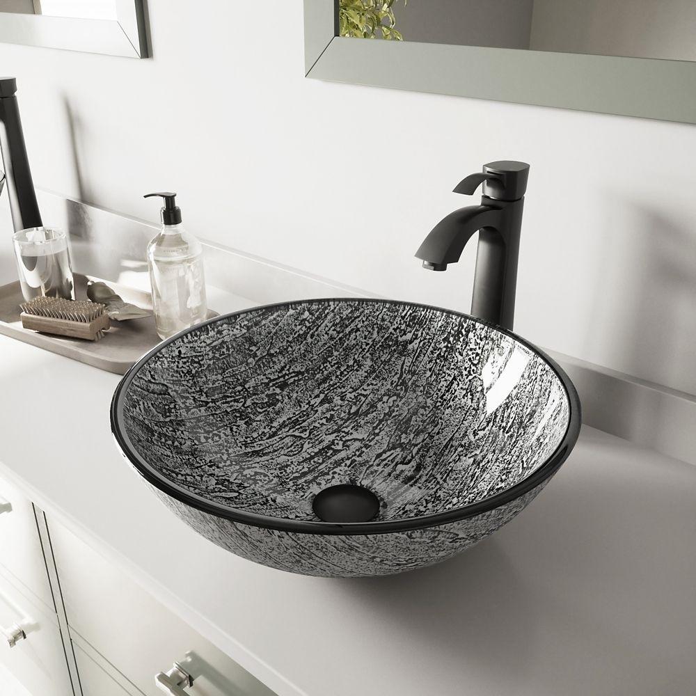Vigo Matte Black Titanium Glass Vessel Sink and Otis Faucet Set The ...