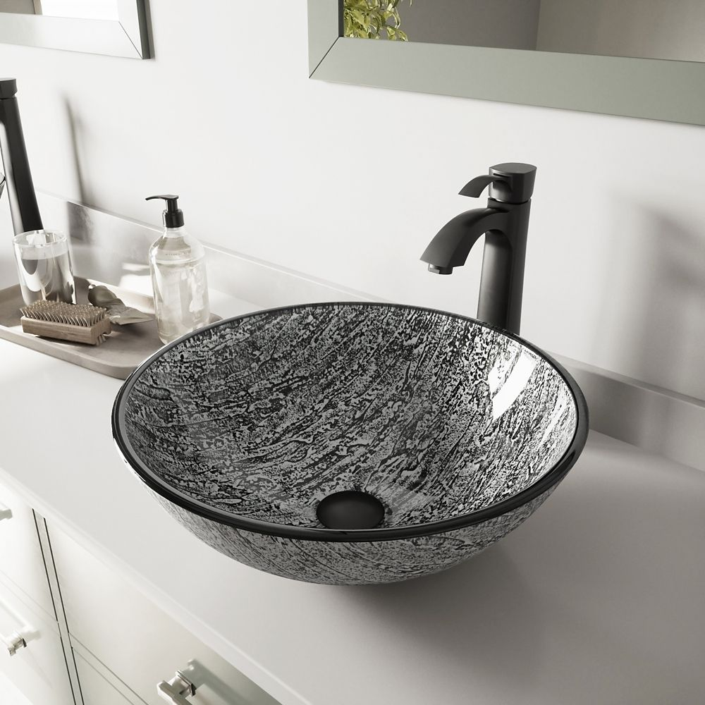 Glass Vessel Sink in Titanium with Otis Faucet in Matte Black