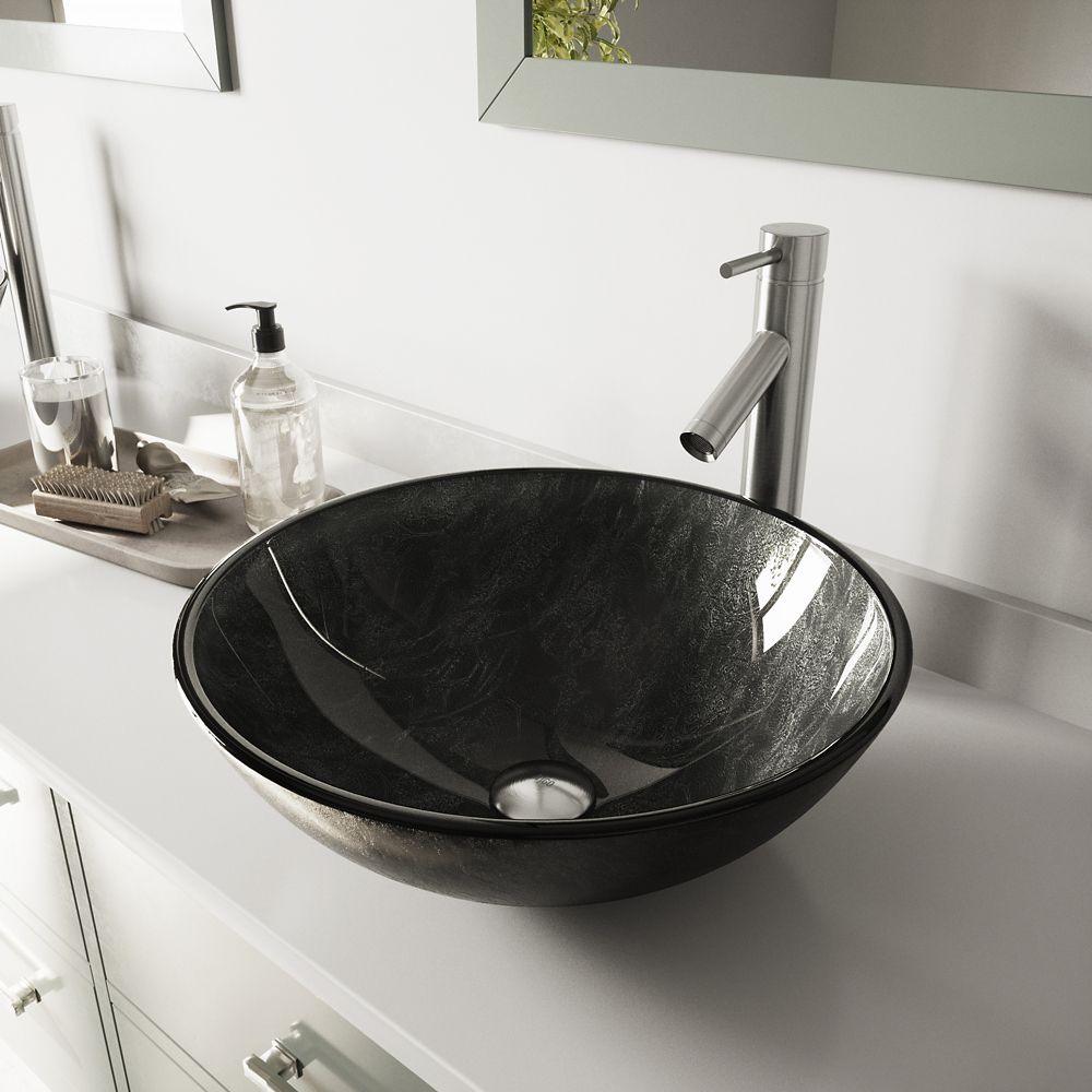 Glass Vessel Sink in Gray Onyx with Dior Faucet in Brushed Nickel