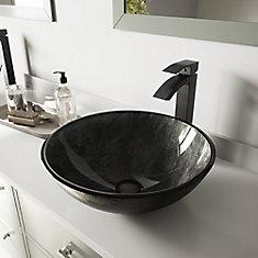 Ensemble de vasque de salle de bains en verre gris Onyx de  et robinet de cuisine noir mat Duris