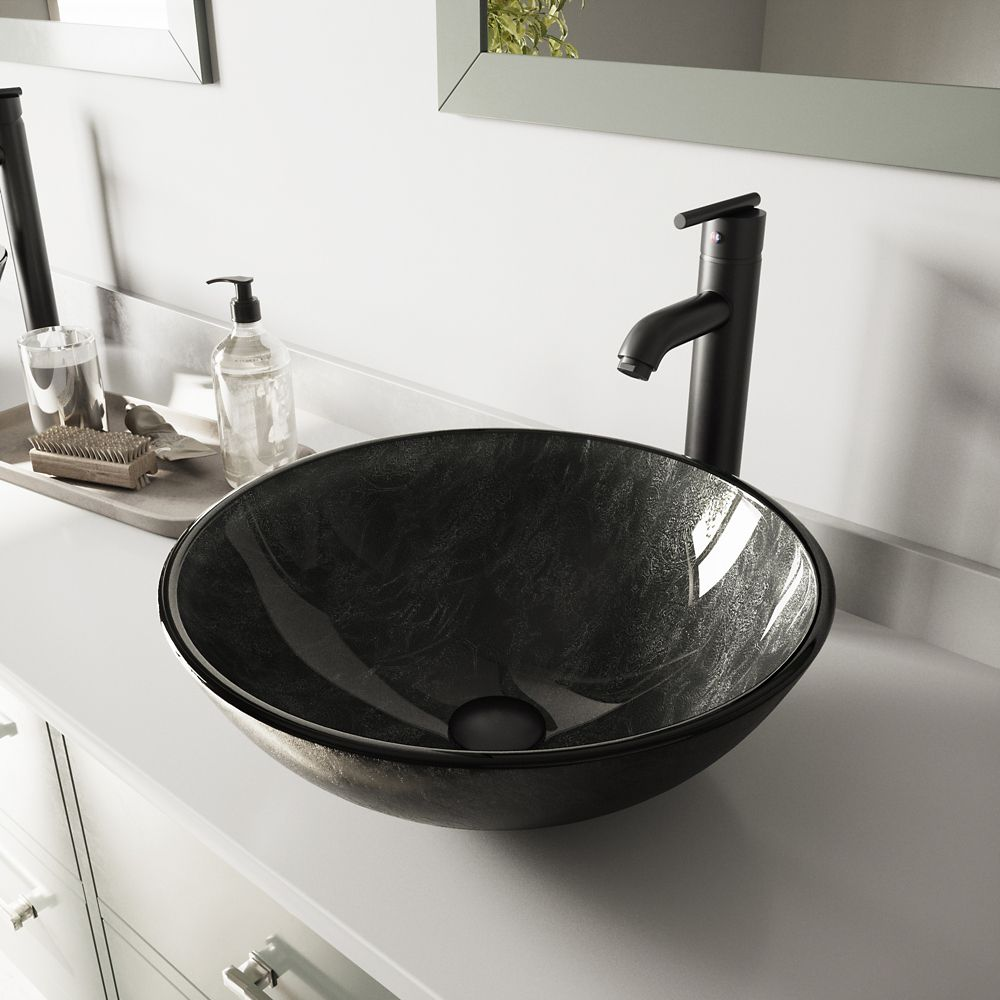 Glass Vessel Sink in Gray Onyx with Seville Faucet in Matte Black