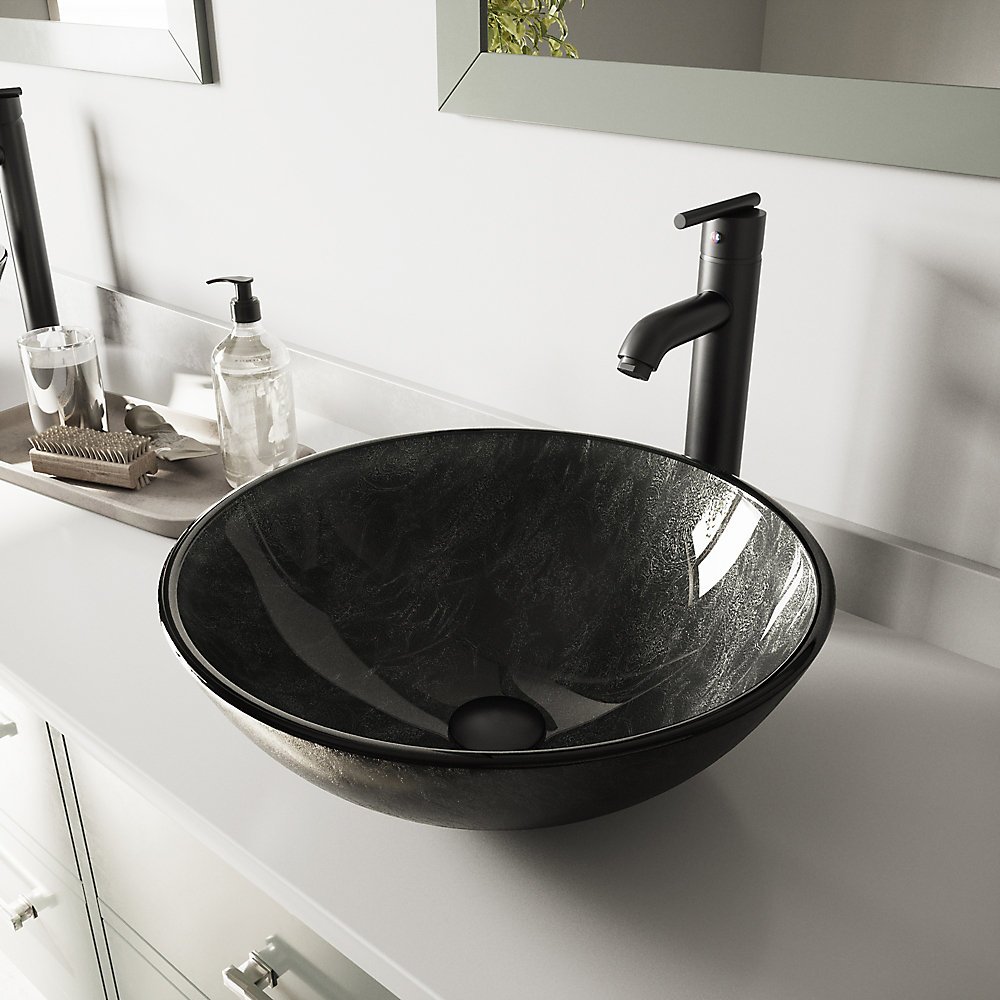 Ensemble de vasque de salle de bains en verre gris Onyx de et robinet de  cuisine noir mat Seville