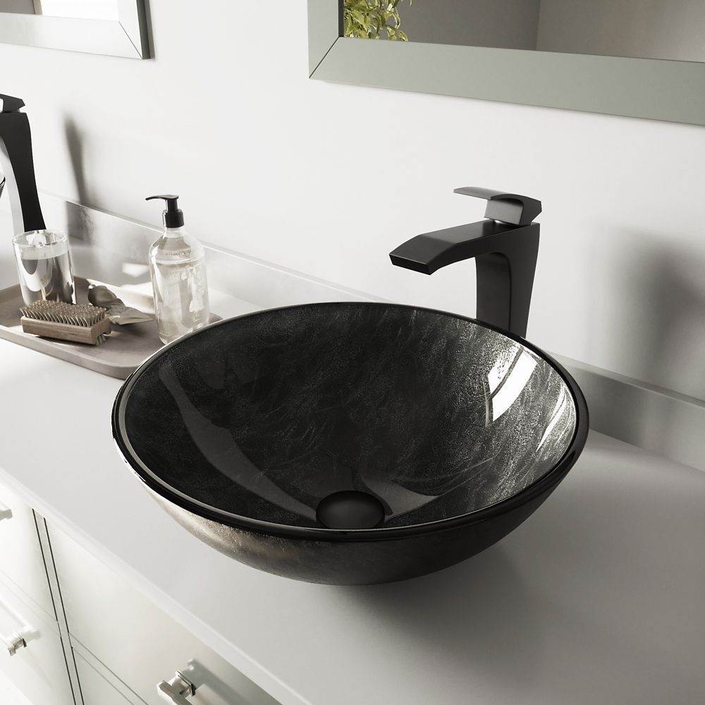 Glass Vessel Sink in Gray Onyx with Blackstonian Faucet in Matte Black