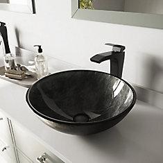 Ensemble de vasque de salle de bains en verre gris Onyx de  et robinet noir mat Blackstonian