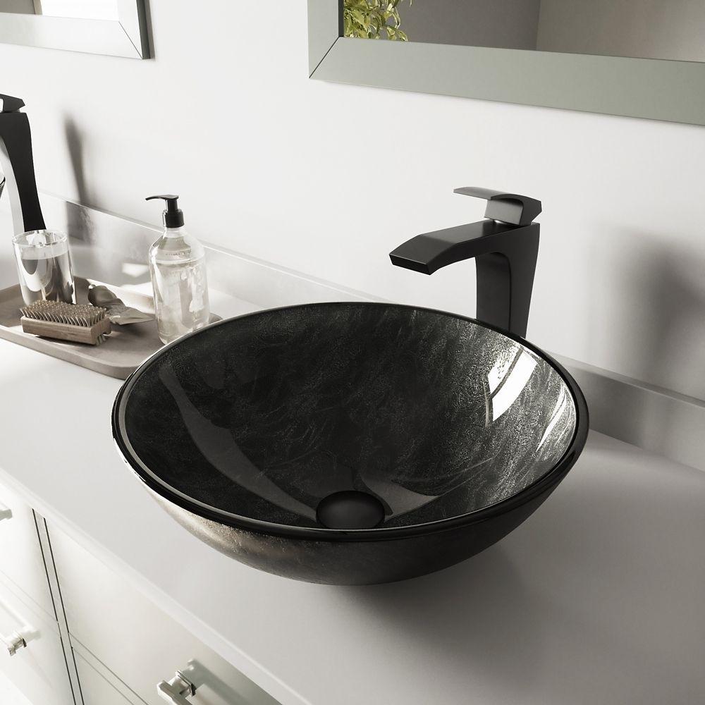 Vigo Glass Vessel Sink in Gray Onyx with Blackstonian Faucet in Matte Black