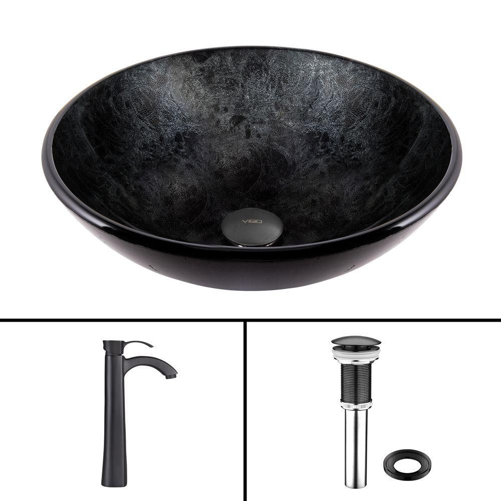 Vigo Glass Vessel Sink in Gray Onyx with Otis Faucet in Matte Black