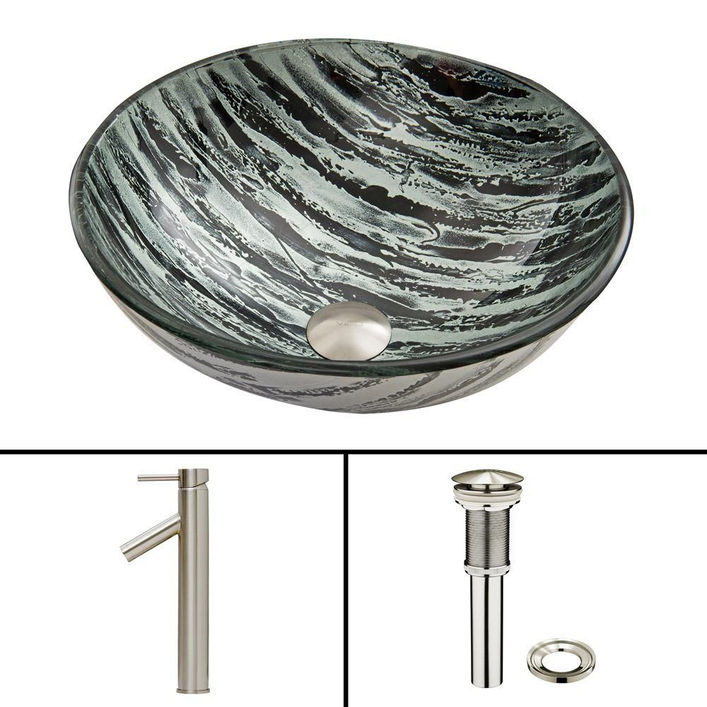 Vigo Glass Vessel Sink in Rising Moon with Dior Faucet in Brushed Nickel