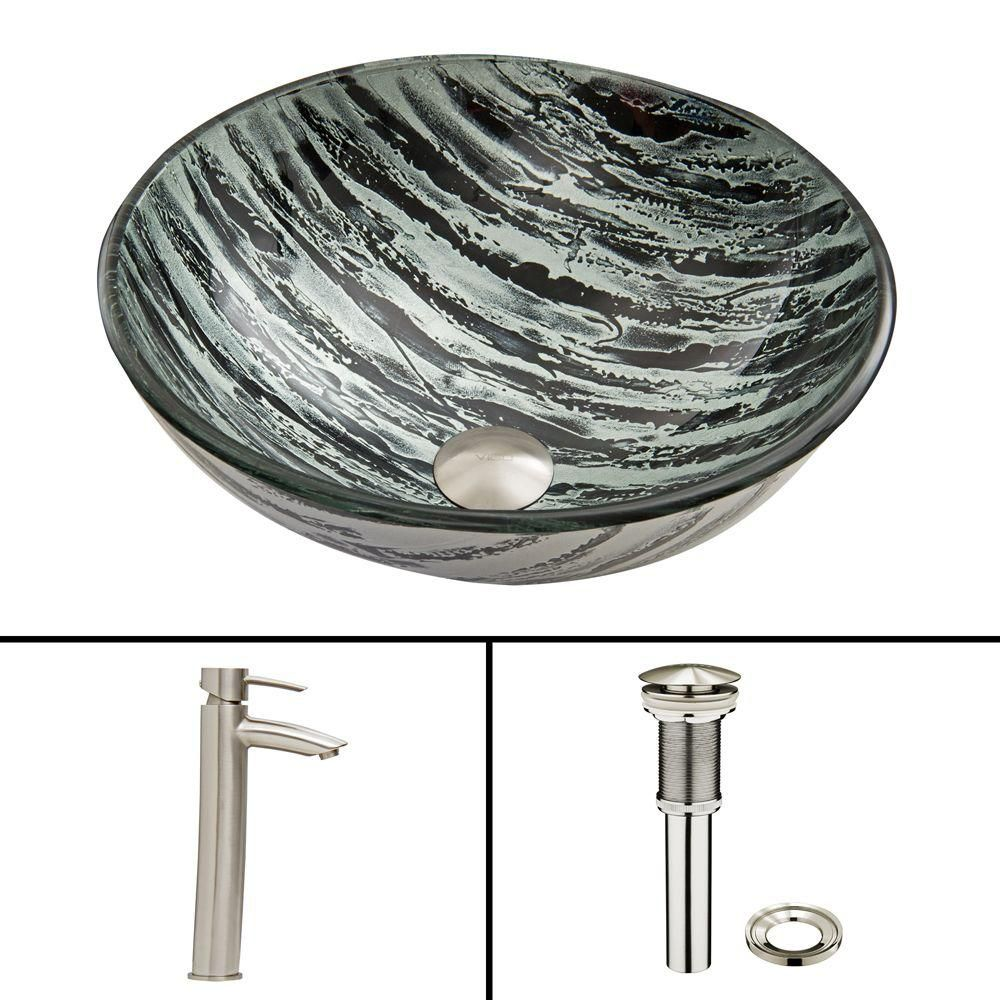 Glass Vessel Sink in Rising Moon with Shadow Faucet in Brushed Nickel
