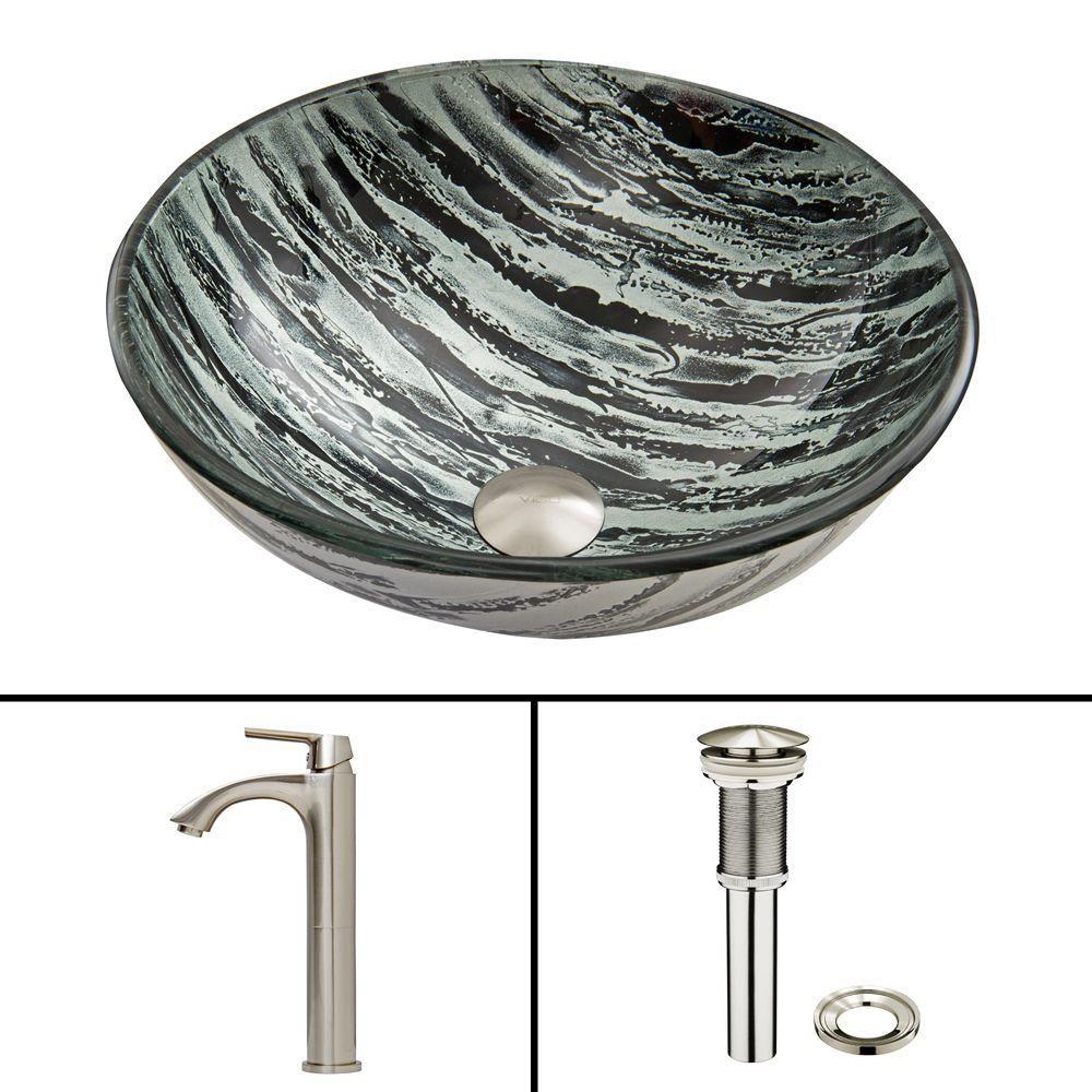 Vigo Glass Vessel Sink in Rising Moon with Linus Faucet in Brushed Nickel