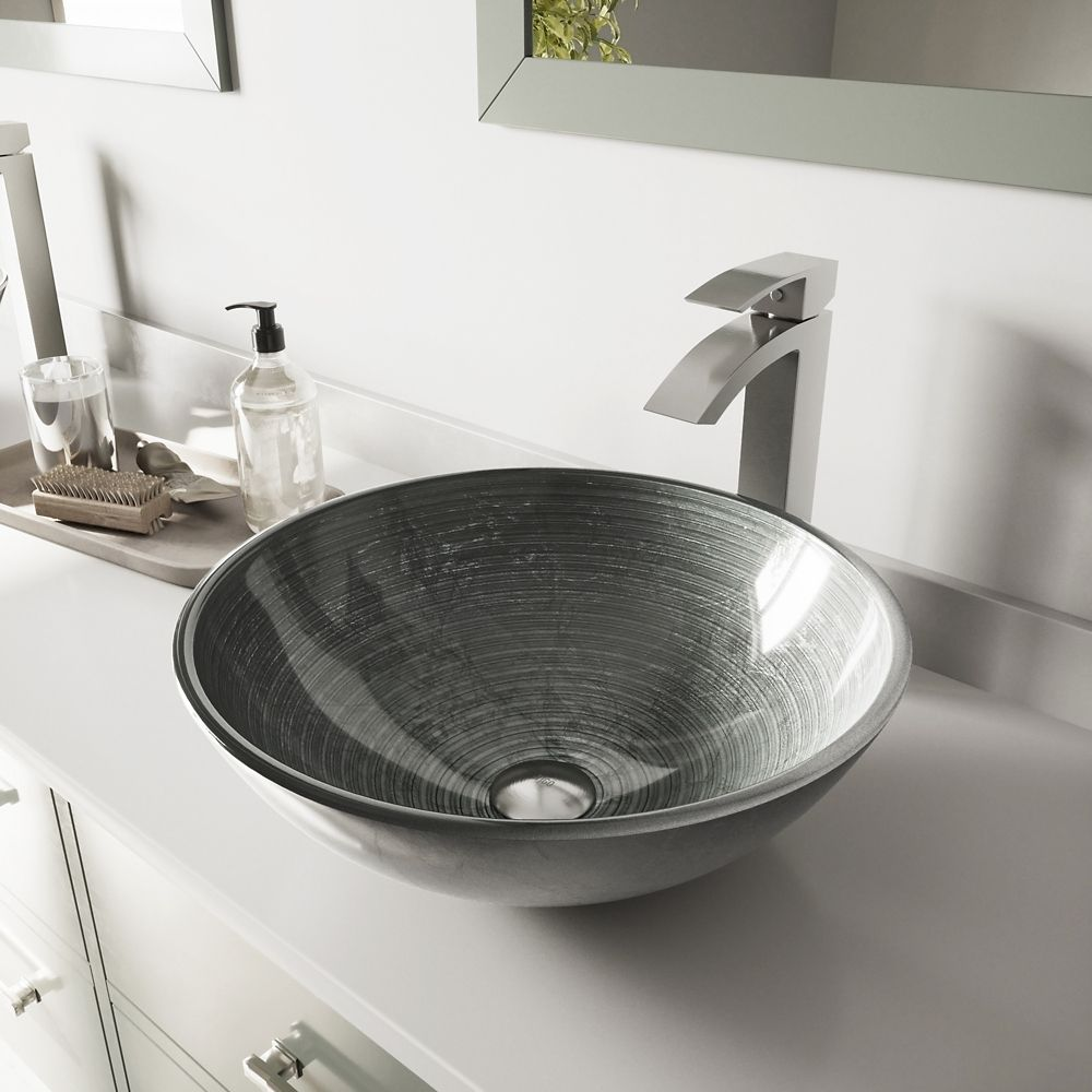 Glass Vessel Sink in Simply Silver with Duris Faucet in Brushed Nickel