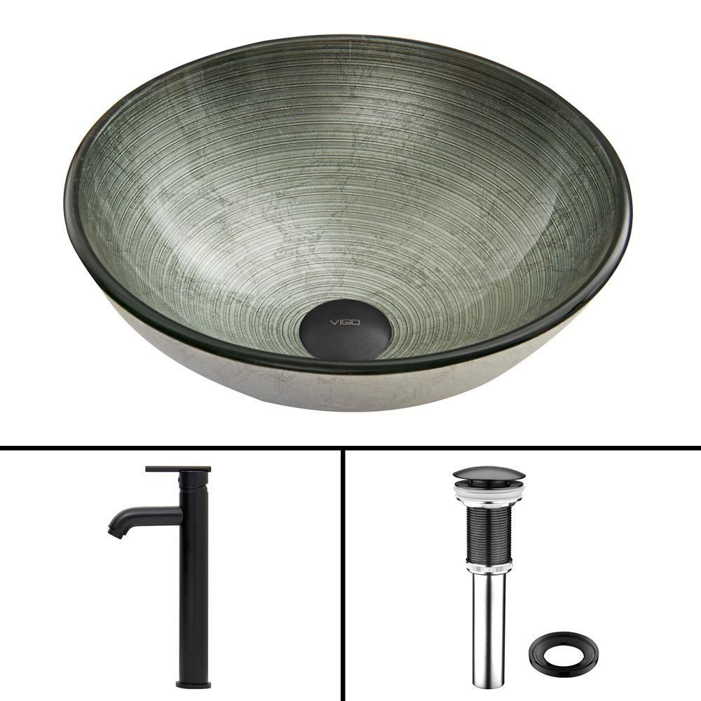 Vigo Glass Vessel Sink in Simply Silver with Seville Faucet in Matte Black