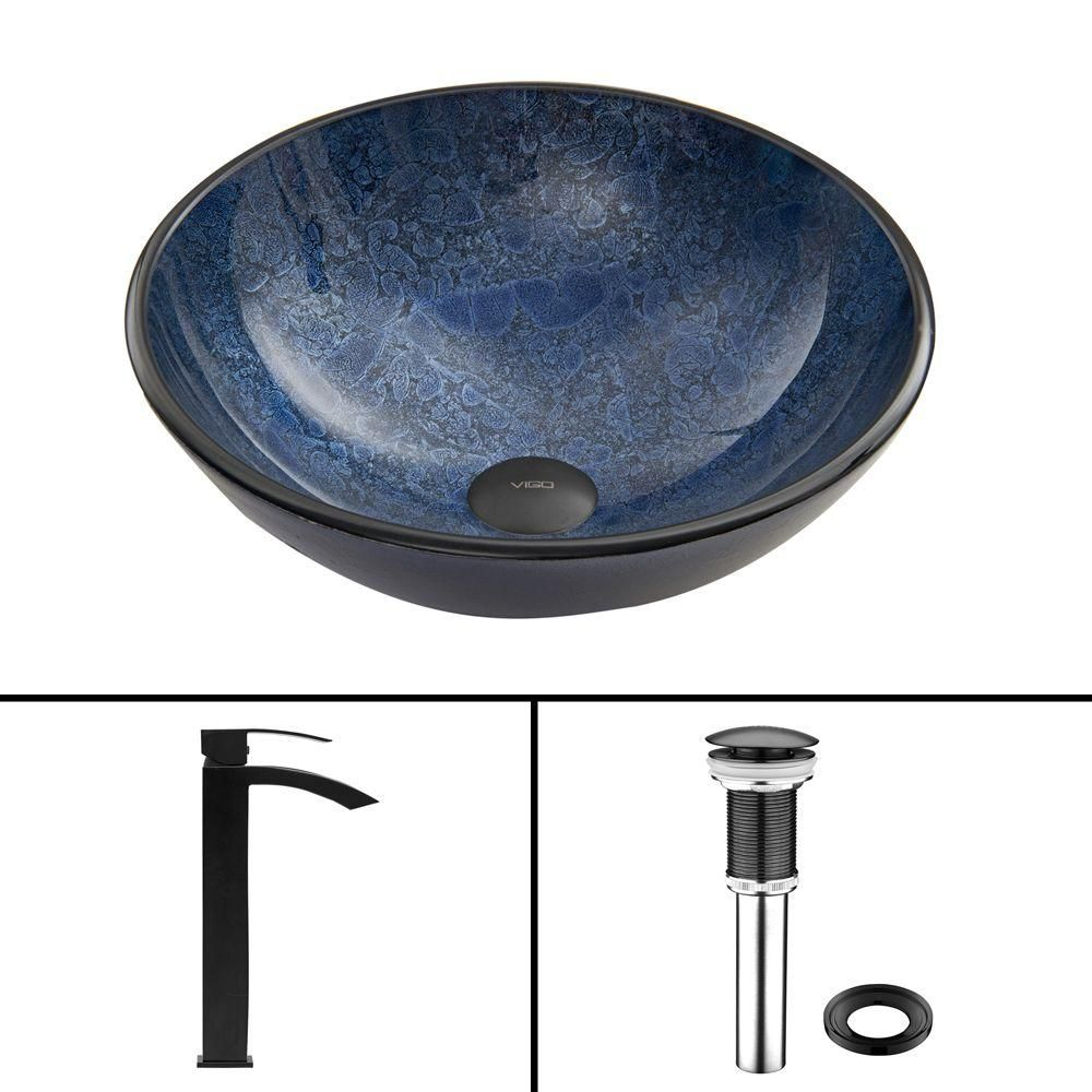 Glass Vessel Sink in Indigo Eclipse with Duris Faucet in Matte Black