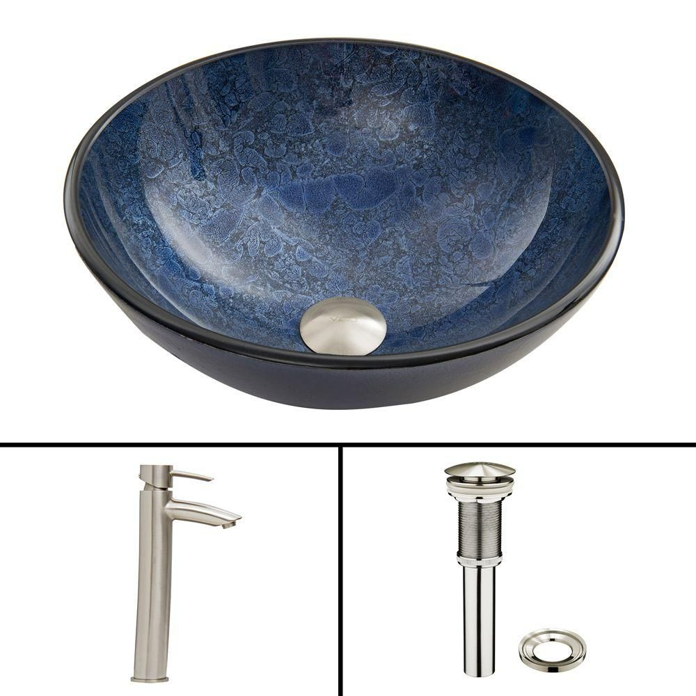 Glass Vessel Sink in Indigo Eclipse with Shadow Faucet in Brushed Nickel
