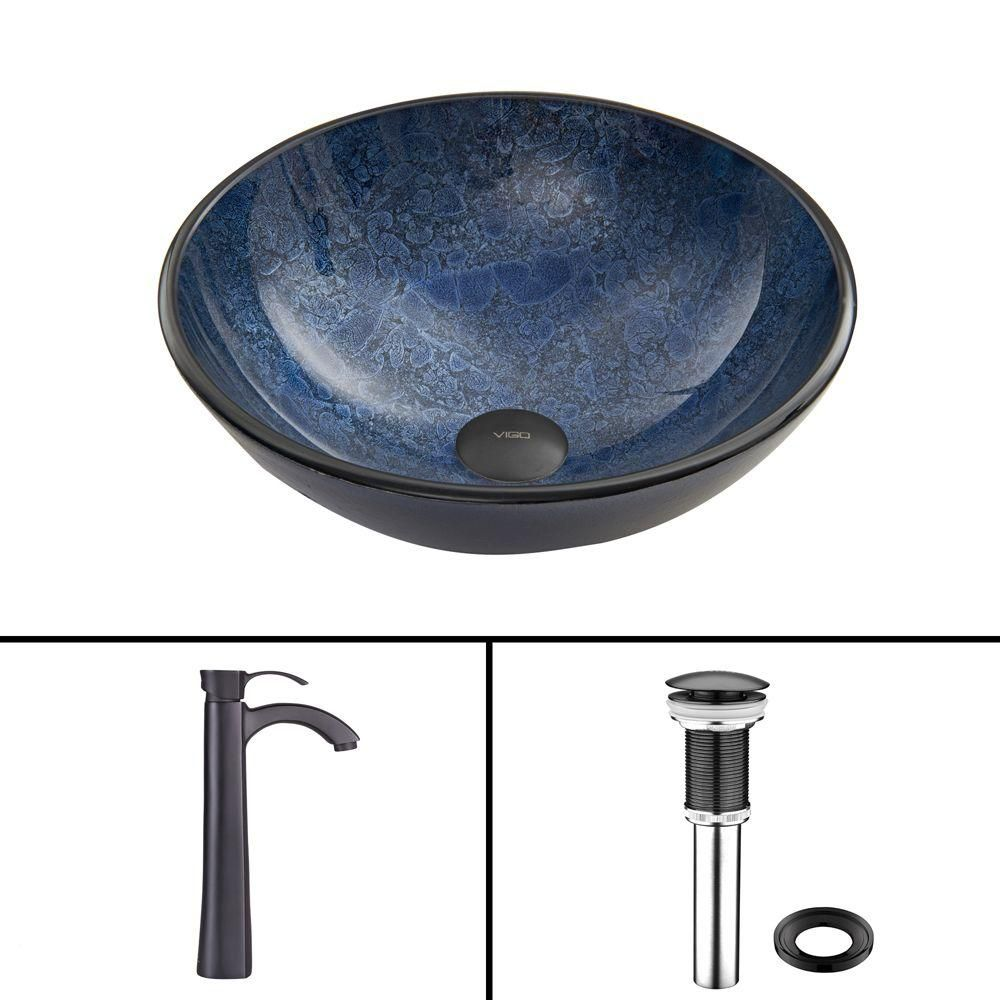 Glass Vessel Sink in Indigo Eclipse with Otis Faucet in Matte Black