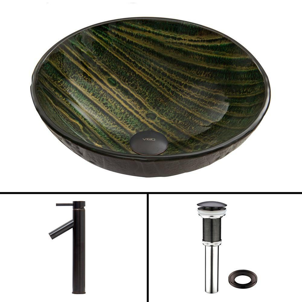 Glass Vessel Sink in Green Asteroid with Dior Faucet in Antique Rubbed Bronze