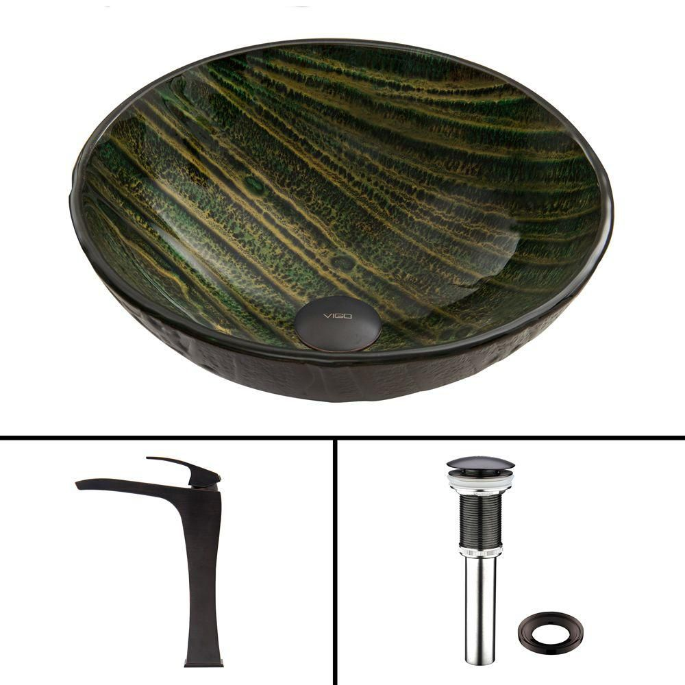 Glass Vessel Sink in Green Asteroid with Blackstonian Faucet in Antique Rubbed Bronze