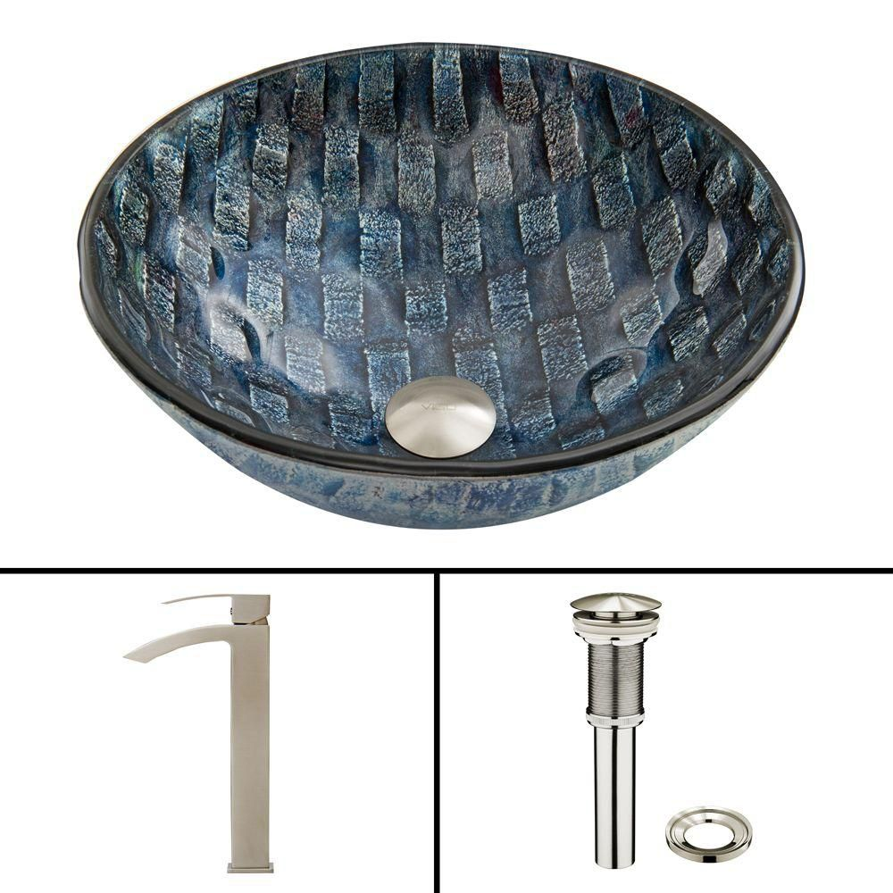 Glass Vessel Sink in Rio with Duris Faucet in Brushed Nickel