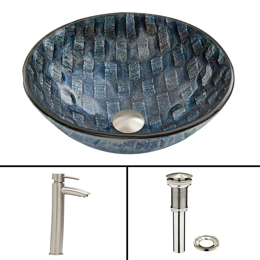 Vigo Glass Vessel Sink in Rio with Shadow Faucet in Brushed Nickel