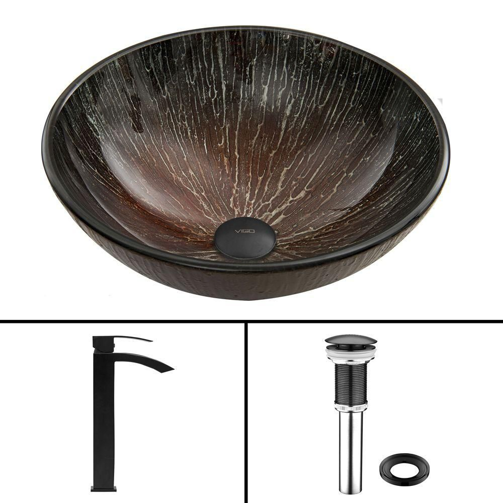 Glass Vessel Sink in Enchanted Earth with Duris Faucet in Matte Black
