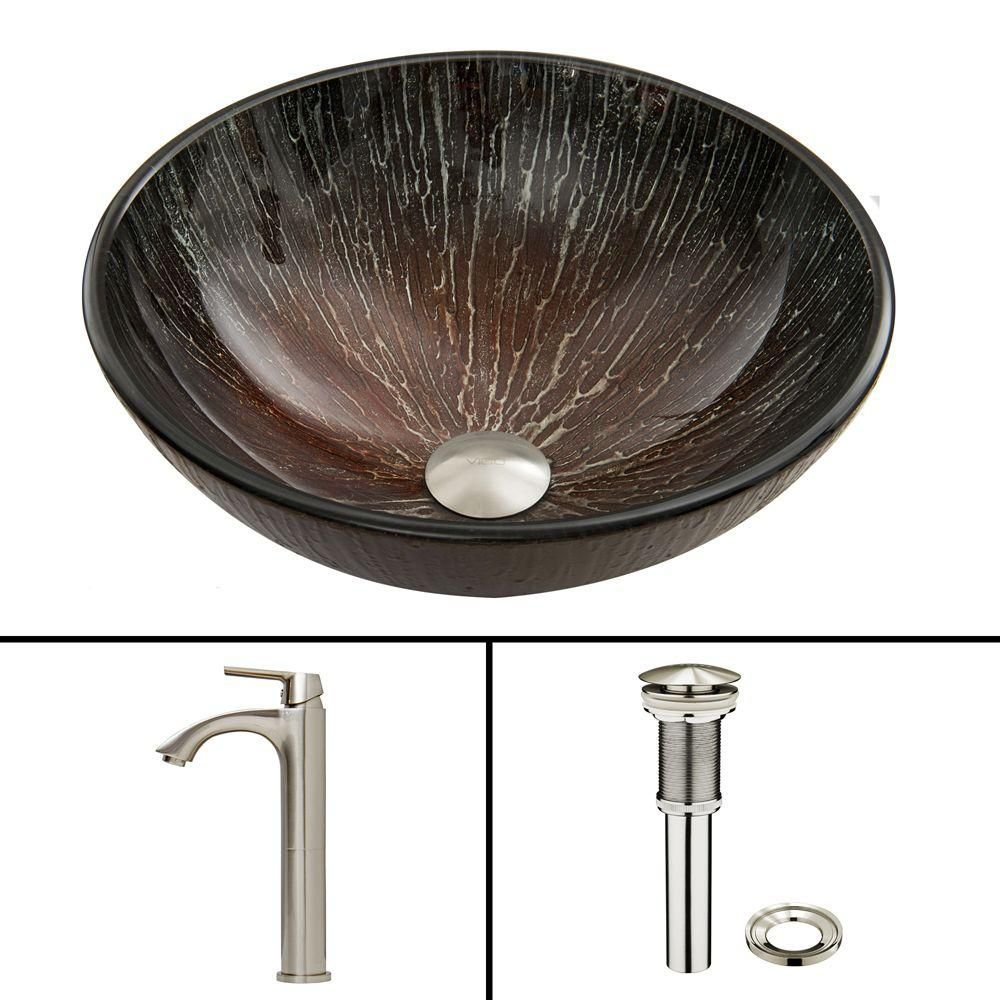 Glass Vessel Sink in Enchanted Earth with Linus Faucet in Brushed Nickel