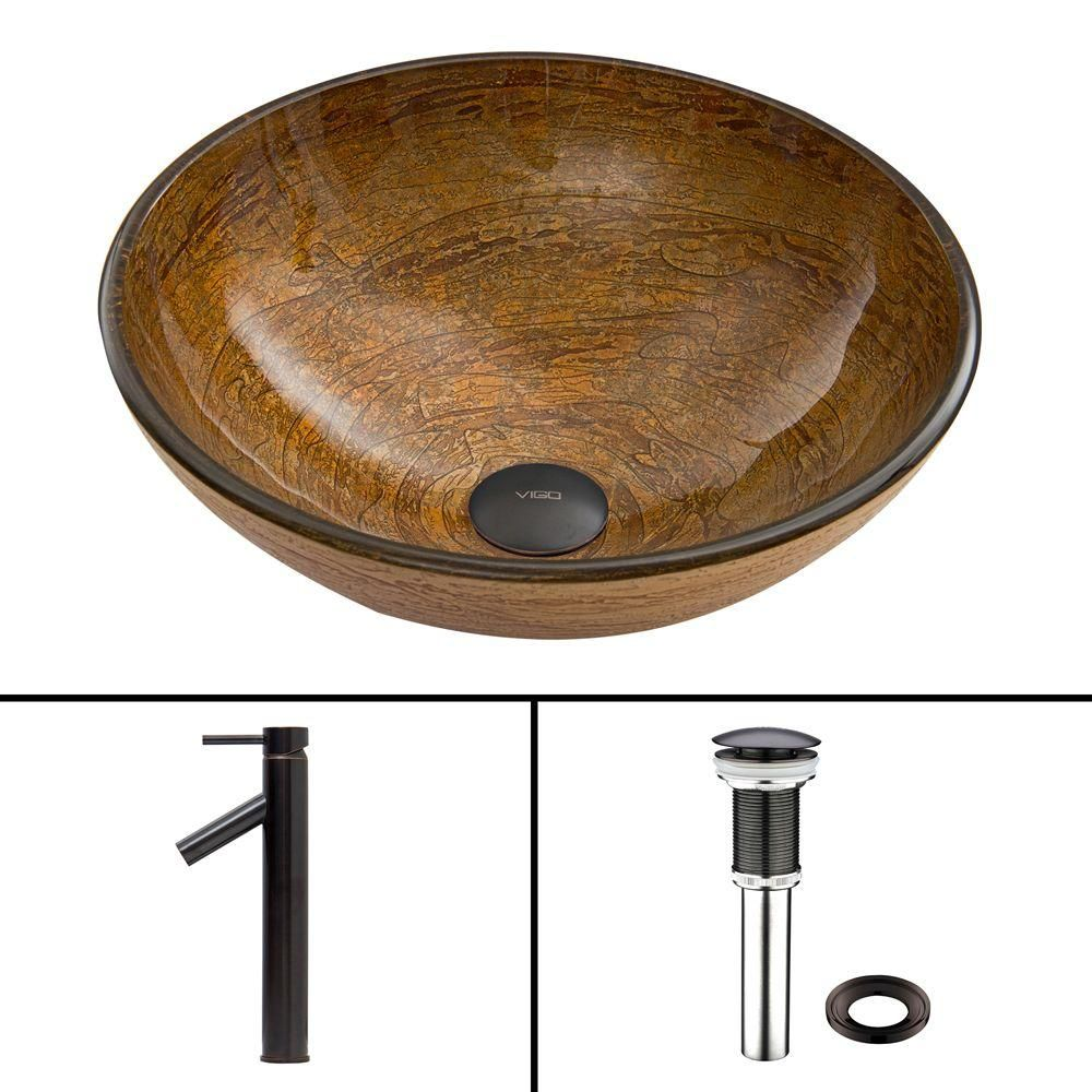 Glass Vessel Sink in Cappuccino Swirl with Dior Faucet in Antique Rubbed Bronze