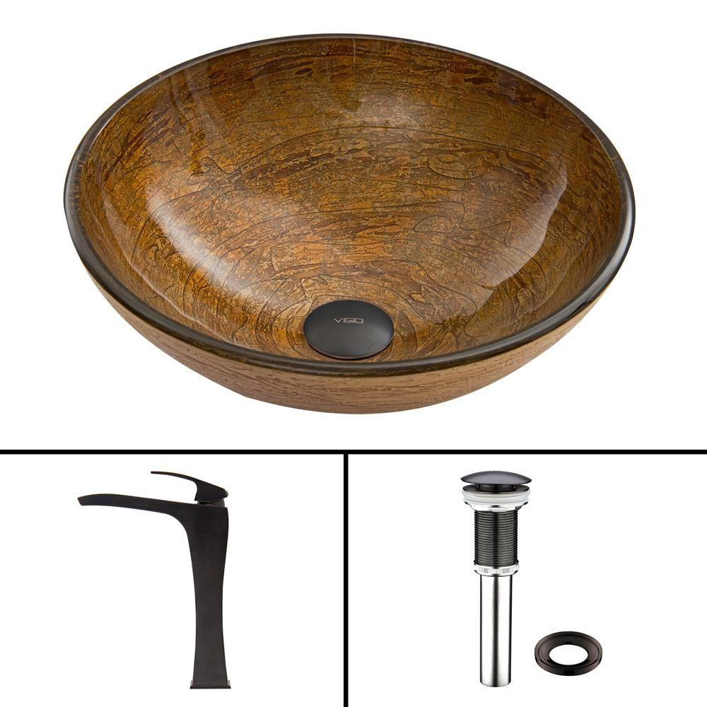 Glass Vessel Sink in Cappuccino Swirl with Blackstonian Faucet in Antique Rubbed Bronze