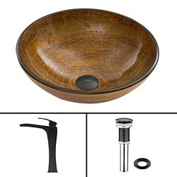 VIGO Glass Vessel Sink in Cappuccino Swirl with Blackstonian Faucet in Antique Rubbed Bronze
