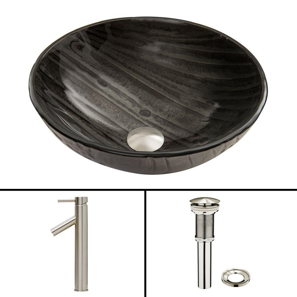 Glass Vessel Sink in Interspace with Dior Faucet in Brushed Nickel
