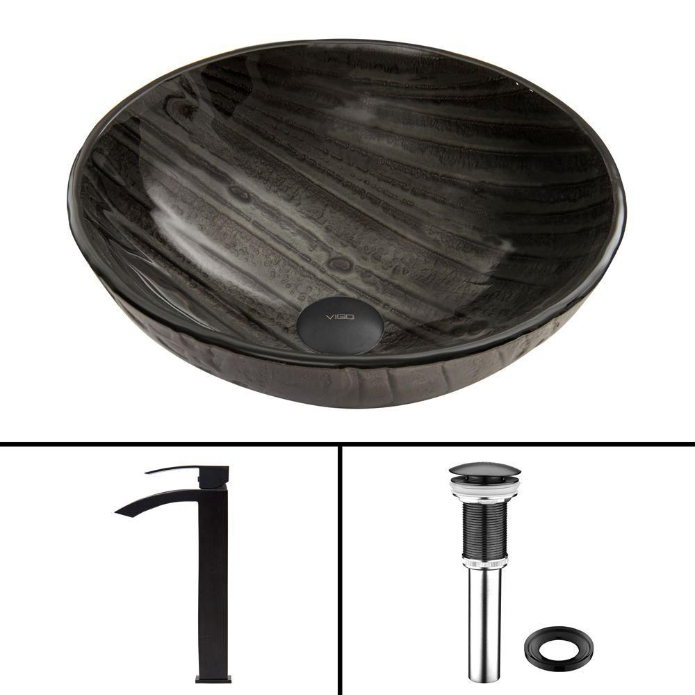 Glass Vessel Sink in Interspace with Duris Faucet in Matte Black