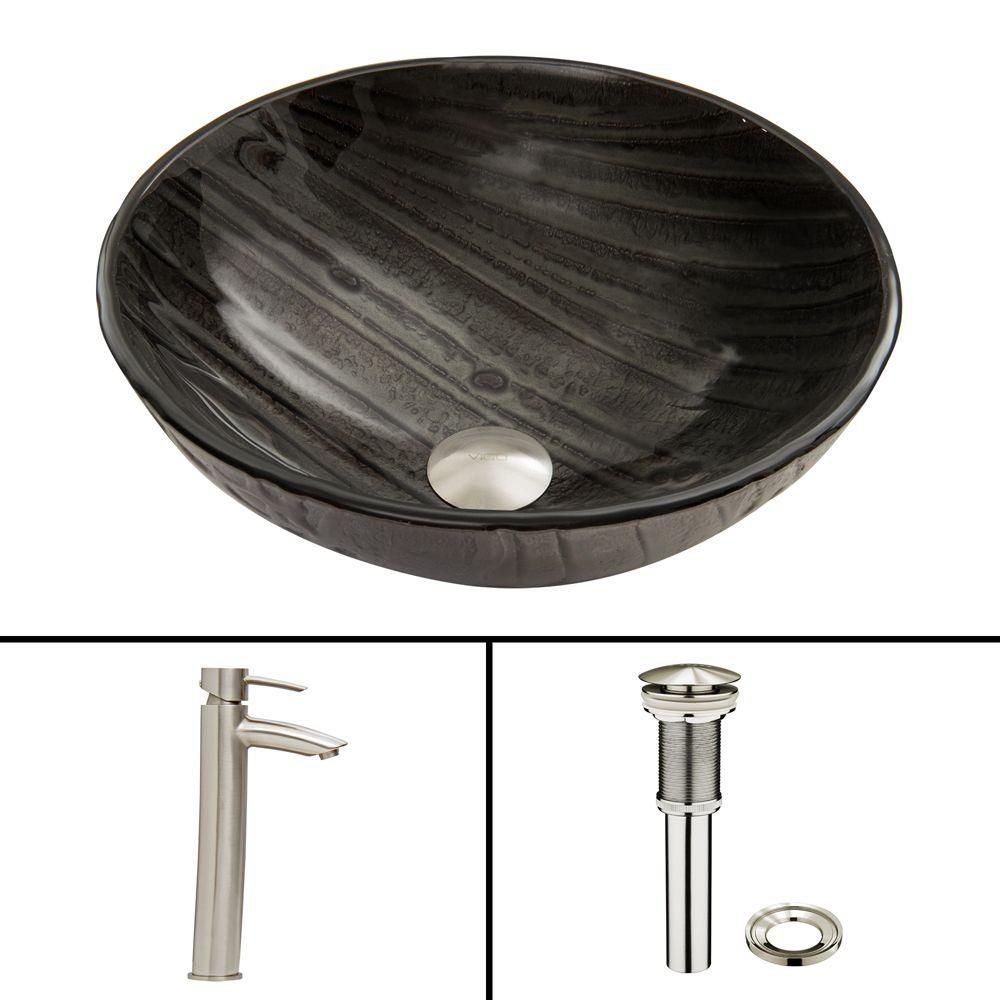 Glass Vessel Sink in Interspace with Shadow Faucet in Brushed Nickel