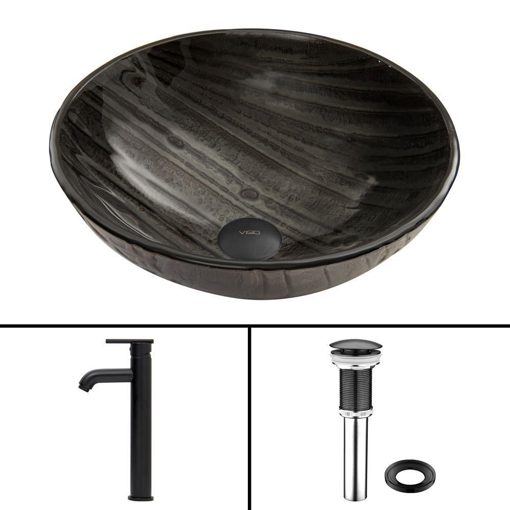 Glass Vessel Sink in Interspace with Seville Faucet in Matte Black