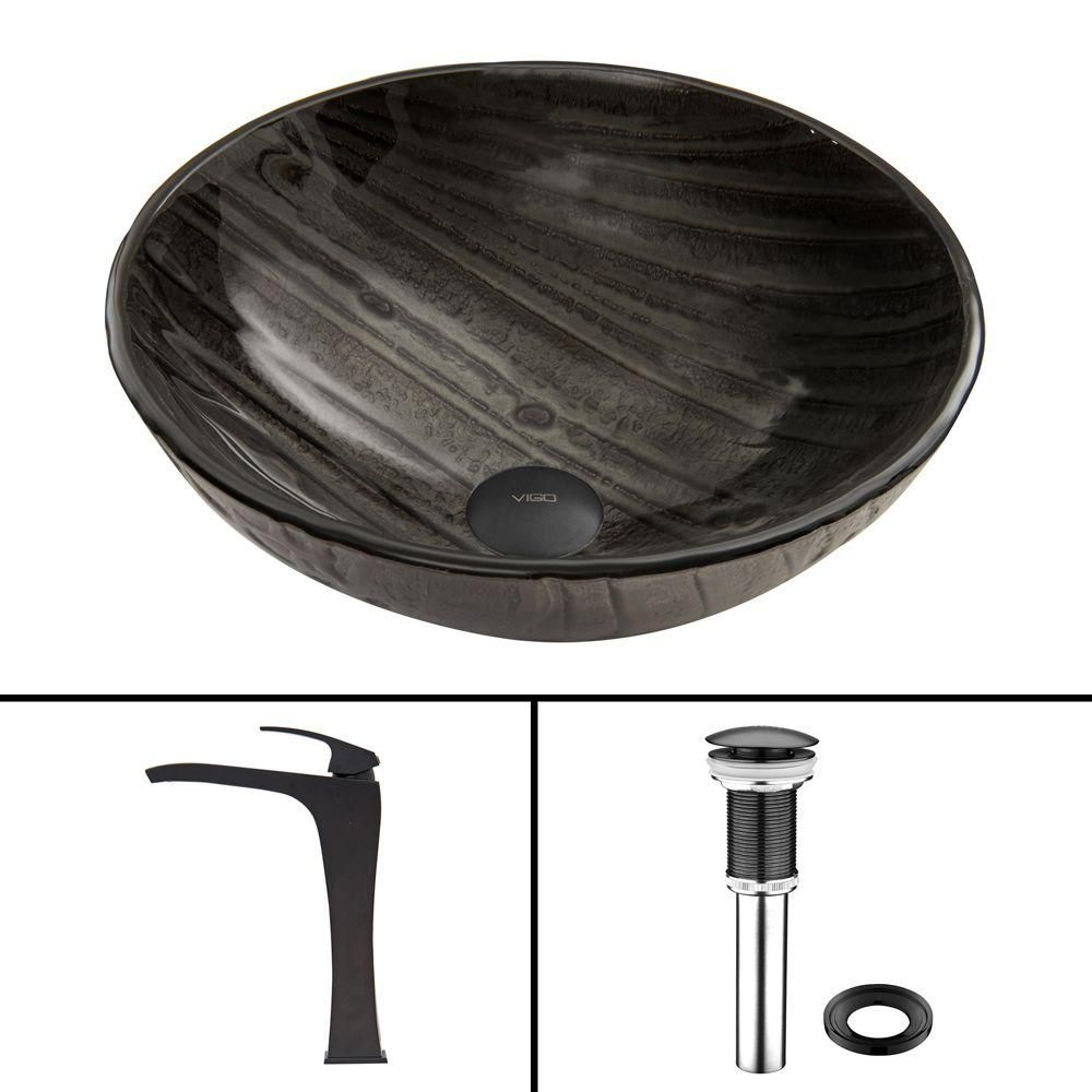 Glass Vessel Sink in Interspace with Blackstonian Faucet in Matte Black
