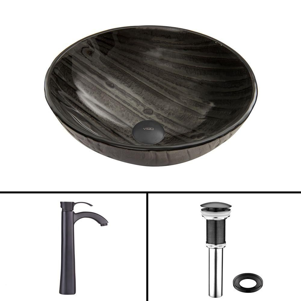 Glass Vessel Sink in Interspace with Otis Faucet in Matte Black
