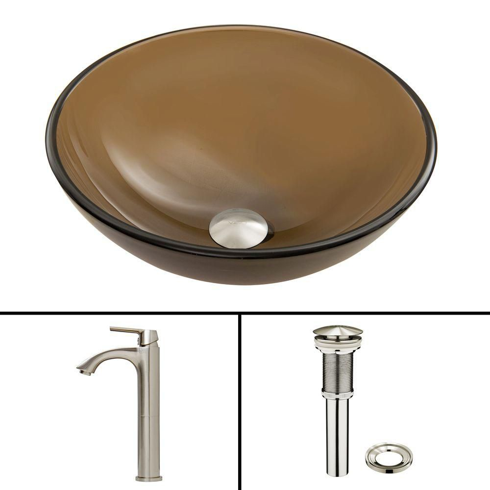Glass Vessel Sink in Sheer Sepia Frost with Linus Faucet in Brushed Nickel