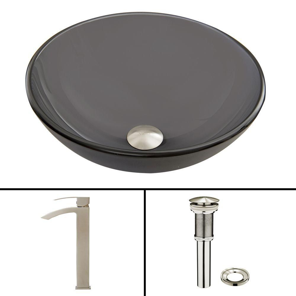 Glass Vessel Sink in Sheer Black Frost with Duris Faucet in Brushed Nickel