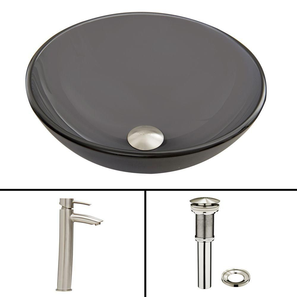 Glass Vessel Sink in Sheer Black Frost with Shadow Faucet in Brushed Nickel