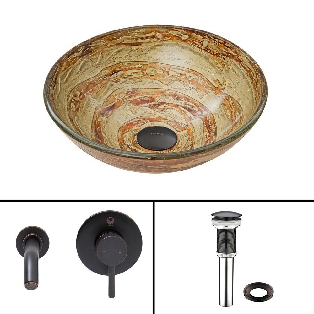 Glass Vessel Sink in Mocha Swirl with Olus Wall-Mount Faucet in Antique Rubbed Bronze