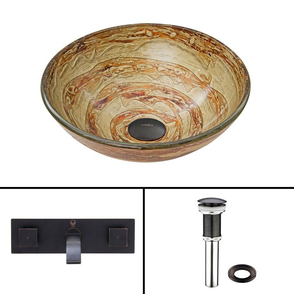 Glass Vessel Sink in Mocha Swirl with Titus Wall-Mount Faucet in Antique Rubbed Bronze
