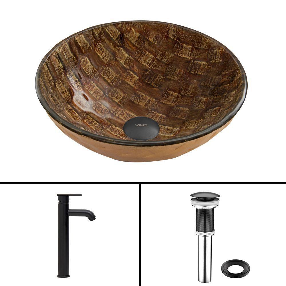 Ensemble Playa lavabo en verre et robinet Seville noir mat