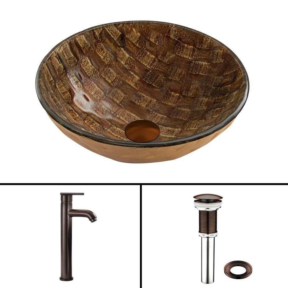 Glass Vessel Sink in Playa with Seville Faucet in Oil-Rubbed Bronze