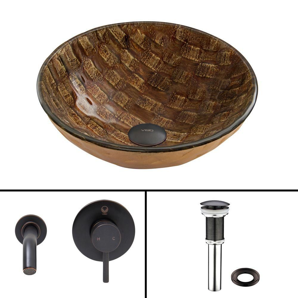 Glass Vessel Sink in Playa with Olus Wall-Mount Faucet in Antique Rubbed Bronze