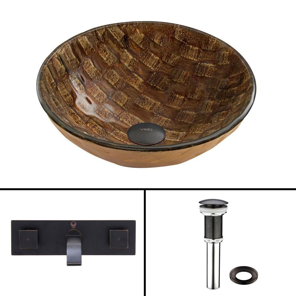 Glass Vessel Sink in Playa with Titus Wall-Mount Faucet in Antique Rubbed Bronze